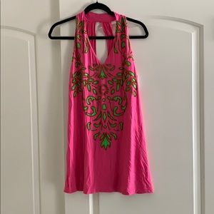 Beaded small hot pink top or cover-up